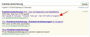 AdWords One-Line Ad Sitelinks Beispiel